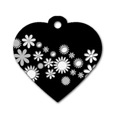 Flower Power Flowers Ornament Dog Tag Heart (two Sides) by Onesevenart