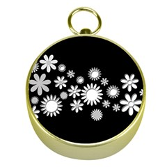 Flower Power Flowers Ornament Gold Compasses by Onesevenart