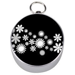 Flower Power Flowers Ornament Silver Compasses by Onesevenart