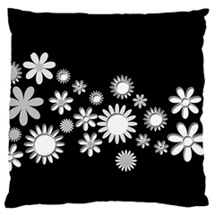 Flower Power Flowers Ornament Large Flano Cushion Case (two Sides) by Onesevenart