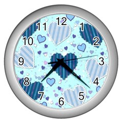 Hearts Pattern Paper Wallpaper Wall Clocks (silver)  by Onesevenart