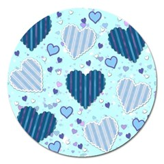 Hearts Pattern Paper Wallpaper Magnet 5  (round) by Onesevenart
