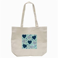 Hearts Pattern Paper Wallpaper Tote Bag (cream) by Onesevenart