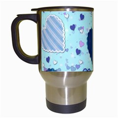 Hearts Pattern Paper Wallpaper Travel Mugs (white) by Onesevenart