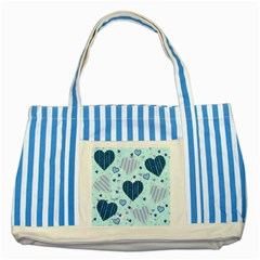 Hearts Pattern Paper Wallpaper Striped Blue Tote Bag by Onesevenart