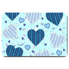 Hearts Pattern Paper Wallpaper Large Doormat  by Onesevenart