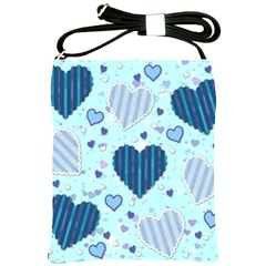 Hearts Pattern Paper Wallpaper Shoulder Sling Bags by Onesevenart