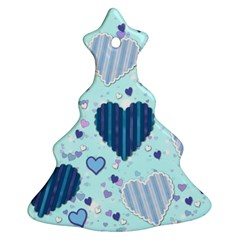 Hearts Pattern Paper Wallpaper Christmas Tree Ornament (two Sides) by Onesevenart