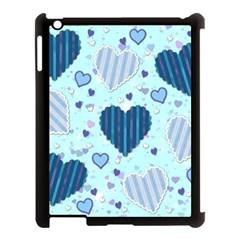 Hearts Pattern Paper Wallpaper Apple Ipad 3/4 Case (black) by Onesevenart