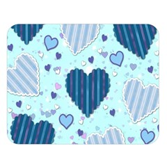 Hearts Pattern Paper Wallpaper Double Sided Flano Blanket (large)  by Onesevenart