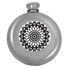 Mandala Geometric Symbol Pattern Round Hip Flask (5 Oz) by Onesevenart
