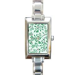 Leaves Foliage Green Wallpaper Rectangle Italian Charm Watch by Onesevenart