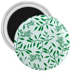 Leaves Foliage Green Wallpaper 3  Magnets by Onesevenart