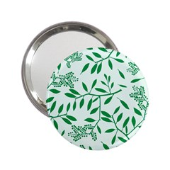 Leaves Foliage Green Wallpaper 2 25  Handbag Mirrors by Onesevenart