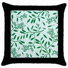 Leaves Foliage Green Wallpaper Throw Pillow Case (black) by Onesevenart
