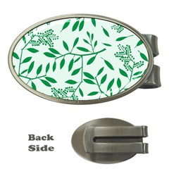Leaves Foliage Green Wallpaper Money Clips (oval)  by Onesevenart