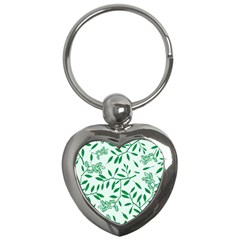 Leaves Foliage Green Wallpaper Key Chains (heart)  by Onesevenart