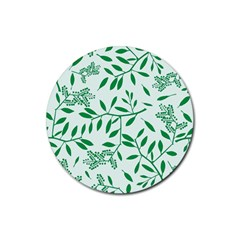 Leaves Foliage Green Wallpaper Rubber Coaster (round)  by Onesevenart