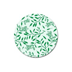 Leaves Foliage Green Wallpaper Magnet 3  (round) by Onesevenart
