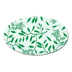 Leaves Foliage Green Wallpaper Oval Magnet by Onesevenart