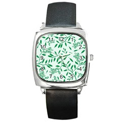 Leaves Foliage Green Wallpaper Square Metal Watch by Onesevenart