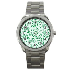 Leaves Foliage Green Wallpaper Sport Metal Watch by Onesevenart
