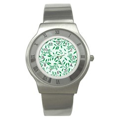 Leaves Foliage Green Wallpaper Stainless Steel Watch by Onesevenart