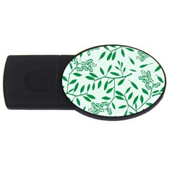 Leaves Foliage Green Wallpaper Usb Flash Drive Oval (4 Gb) by Onesevenart