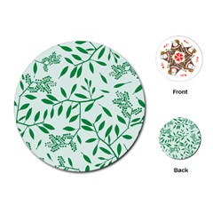 Leaves Foliage Green Wallpaper Playing Cards (round)  by Onesevenart