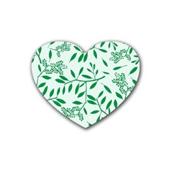 Leaves Foliage Green Wallpaper Rubber Coaster (heart)  by Onesevenart