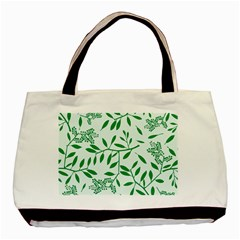 Leaves Foliage Green Wallpaper Basic Tote Bag (two Sides) by Onesevenart