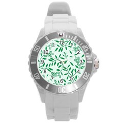 Leaves Foliage Green Wallpaper Round Plastic Sport Watch (l) by Onesevenart