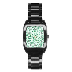 Leaves Foliage Green Wallpaper Stainless Steel Barrel Watch by Onesevenart