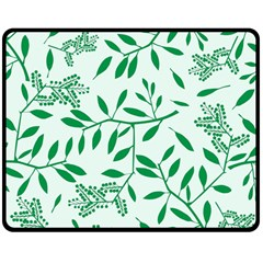 Leaves Foliage Green Wallpaper Double Sided Fleece Blanket (medium)  by Onesevenart