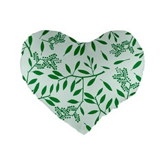 Leaves Foliage Green Wallpaper Standard 16  Premium Flano Heart Shape Cushions by Onesevenart