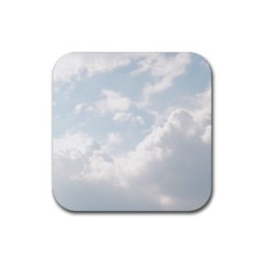 Light Nature Sky Sunny Clouds Rubber Square Coaster (4 Pack)  by Onesevenart