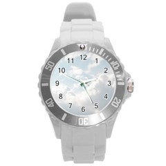 Light Nature Sky Sunny Clouds Round Plastic Sport Watch (l) by Onesevenart