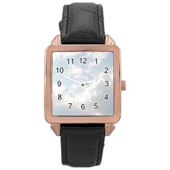Light Nature Sky Sunny Clouds Rose Gold Leather Watch  by Onesevenart