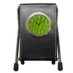 Green Leaf Pattern Plant Pen Holder Desk Clocks by Onesevenart