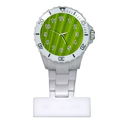 Green Leaf Pattern Plant Plastic Nurses Watch by Onesevenart