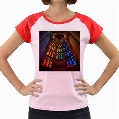Leopard Barcelona Stained Glass Colorful Glass Women s Cap Sleeve T-Shirt by Onesevenart