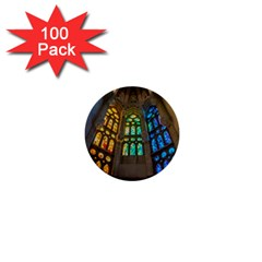 Leopard Barcelona Stained Glass Colorful Glass 1  Mini Buttons (100 Pack)  by Onesevenart