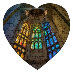 Leopard Barcelona Stained Glass Colorful Glass Jigsaw Puzzle (heart) by Onesevenart