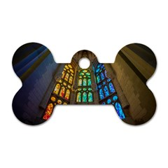 Leopard Barcelona Stained Glass Colorful Glass Dog Tag Bone (two Sides) by Onesevenart