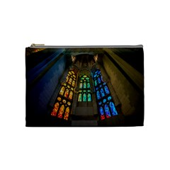 Leopard Barcelona Stained Glass Colorful Glass Cosmetic Bag (medium)  by Onesevenart