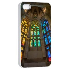 Leopard Barcelona Stained Glass Colorful Glass Apple Iphone 4/4s Seamless Case (white) by Onesevenart