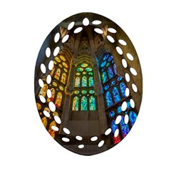 Leopard Barcelona Stained Glass Colorful Glass Ornament (oval Filigree) by Onesevenart