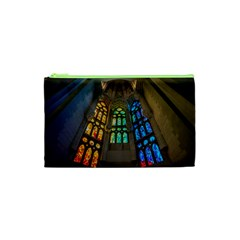 Leopard Barcelona Stained Glass Colorful Glass Cosmetic Bag (xs) by Onesevenart