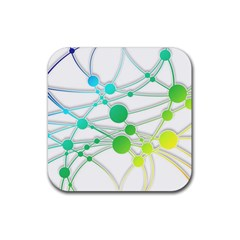 Network Connection Structure Knot Rubber Coaster (square)  by Onesevenart