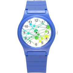 Network Connection Structure Knot Round Plastic Sport Watch (s) by Onesevenart